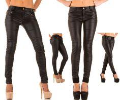 Crazy Lover Jeans Lederimitat Skinny Hüfthose Röhre Hose Zipper,34-42 Schwarz