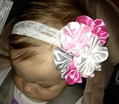 NEW ITEM Boutique Baby Girls White Pink by CamdynReeseHeadbands, $10.50