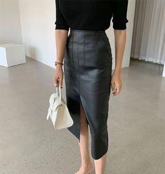 New black faux leather high waist front slit midi length women pencil skirt - Skirts Midi Length Skirts, Black Faux Leather, High Waist, Leather Skirt, Pencil, Women, Fashion, Moda, Leather Skirts