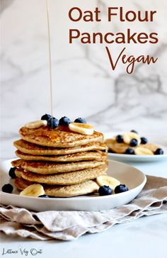 This vegan oat pancake recipe is uses simple ingredients and creates fluffy, delicious vegan gluten free pancakes. These are vegan oat pancakes with no banana in them! Full cooking video provided in the recipe card to help you make this easy vegan breakfast recipe. #Vegan #VeganRecipe #VeganBreakfast #VeganPancake #GlutenFree #GlutenFreeRecipe #DairyFree #DairyFreeRecipe #EggFree #Eggless #PlantBased #Pancake #PancakeRecipe #OatFlour #Flaxseed #EggFreeRecipe #EgglessRecipe #DairyFreeBreakfast Vegan Protein Pancakes, Vegan Pancake Recipes, Best Pancake Recipe, Eggless Recipes, Vegan Recipes, Oat Flour Pancakes, Pancakes Easy, Fluffy Pancakes, Waffles