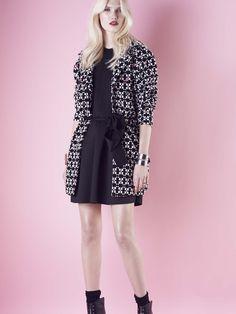 Model wears Naughty Dog #FW1415 black and white jacquard #parka and black scuba #dress.