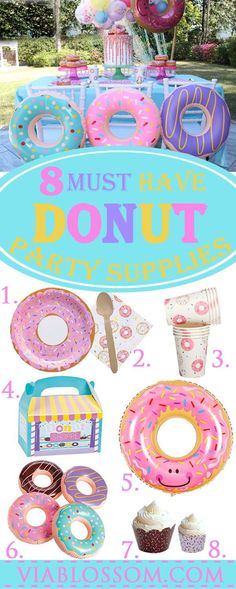 8 Must have Donut Party Decorations for the sweetest birthday party ever! If you are looking for Donut party ideas look no further! #donutpartyideas #donutpartydecorations #donutbirthdayparty #donutthemedparty #viablossom