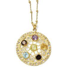 Leslie's Sterling Silver Gold-tone 18k Flash Gemstone Necklace F123