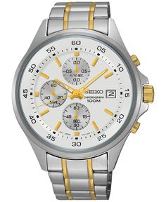 Seiko Men's Chronograph Special Value Two-Tone Stainless Steel Bracelet Watch 43mm SKS479