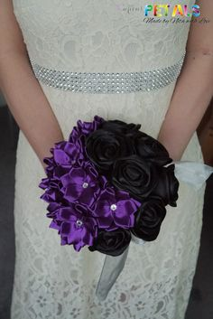 Mysterious Purple and Black Satin Ribbon Rose by CuriousPetals, £35.00