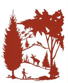 woodland walk Original design hand-cut by Jenny Lee Fowler