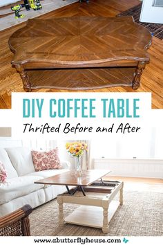 Learn to transform an old laminate coffee table into something modern and functional! #furnitureflip #furnituremakeover Cheap Furniture Makeover, Diy Furniture Renovation, Diy Furniture Flip, Diy Furniture Projects, House Projects, Furniture Redo, Garden Projects, Painted Furniture, Diy Projects