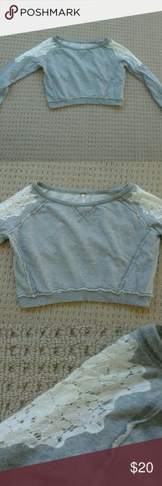 """Free People Sweatshirt Lace Pullover XS Free People grey sweatshirt in a size XS.  Excellent condition!  Length is 19"""".  Chest is 36"""" Free People Tops Sweatshirts & Hoodies"""