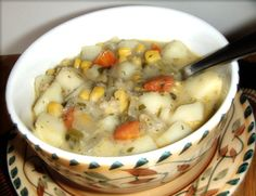 My Mother's Potato-Corn Chowder: a dairy-free, vegan soup that will warm your insides, deliciously.