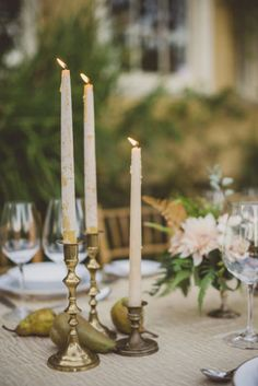 Wedding and Event Lighting : As much as we love votive candles on tabletops, these brushed white & gold candlesticks are winning us over. They're a great way to give your tablescape an elegant and romantic touch. Wedding Ceremony Ideas, Wedding Table, Fall Wedding, Our Wedding, Dream Wedding, Ceremony Signs, Garden Wedding, Wedding Blog, Event Lighting