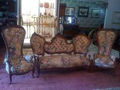 Victorian Parlor Set,  3 Pieces,  Very Ornate,  Maybe Belter Or Meeks