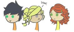 mrscalypsojackson:  jubolu:  the fourth book in a nutshell…  but I finally decided what Rachel's hair was gonna look like :D  this is seriously perfect. Annabeth is all angry, rachel is like who the hell is this bitch, and percy, my perfect little cupcake is completely oblivious.