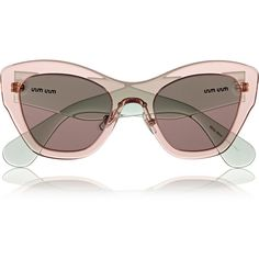 Miu Miu Two-tone cat eye acetate sunglasses (1.045 DKK) ❤ liked on Polyvore featuring accessories, eyewear, sunglasses, glasses, miu miu, retro sunglasses, cat-eye glasses, miu miu sunglasses, pink cat eye glasses and green glasses