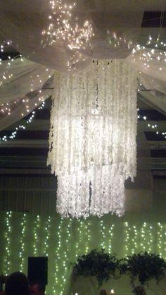 wedding chandelier. 8000 roses sewed together on hula hoops. #wedding #decorations #roses #diy