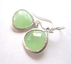 Mint Green Earrings 14k Gold by lcatlla on Etsy, $24.00