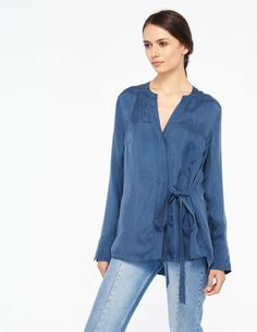 Long-Sleeved Top With Tie Fastening - Tops & Shirts - Sandro Paris