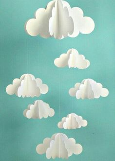 Your place to buy and sell all things handmade Cloud Mobile, Hanging Baby Mobile, Paper Mobile, N Diy And Crafts, Craft Projects, Crafts For Kids, Arts And Crafts, Handmade Crafts, Summer Crafts, Paper Clouds, 3d Clouds, Balloon Clouds