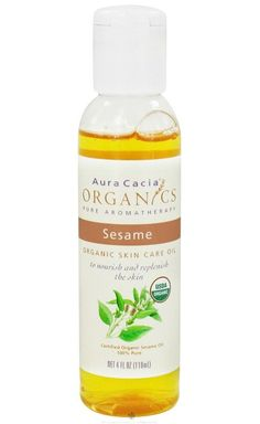 Aura Cacia Sesame Organic Skin Care Oil ~ apply to dampened skin after showering