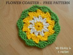 My Hobby Is Crochet: Crochet Daisy/Flower Coaster- Free Pattern with Photo Tutorial