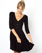 closet staple dress #littleblackdress #work #fashion #clothes aso 90s, 90s skater, fashion, style, buttons, skater dresses, black dress, sleeves, 34 sleev