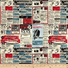 Riley Blake Rocket Age Ads Red from @fabricdotcom  Designed by October Afternoon, this cotton print fabric is perfect for quilting, apparel and home decor accents. Colors include black, red, blue and cream.