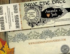 Make into bookmark business cardMedieval Times or Renaissance or Shakespeare themed Save the Date Ticket for wedding Romeo and Juliet and Robin Hood inspired. $25.00, via Etsy.