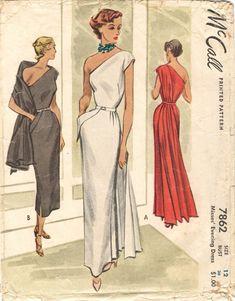 McCall 7862 ©1949 Evening Dress 40s 50s long evening gown sheath dress column white black red cocktail party one shoulder unique design color illustration print ad pattern