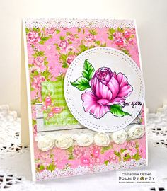ChristineCreations: Everything's Even Rosier stamp set by Power Poppy, card design by Chstine Okken.