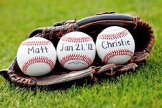 put one ball in the glove with the date.  pair with football with names.  something like that