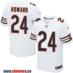 Men's Chicago Bears #24 Jordan Howard White Road Stitched NFL Nike Elite Jersey