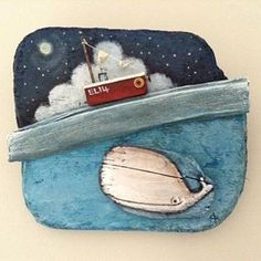 A fabulous 3D picture by British artist Claire Brierley #driftwood #whale #boat…