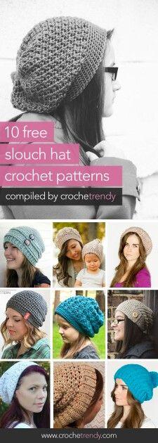 10 free slouchy crochet hat patterns