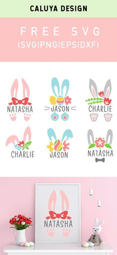 clip art freebies Free Bunny Split Monogram SVG, PNG, EPS & DXF by Caluya Design. Compatible with Cameo Silhouette, Cricut and other major cutting machines! Perfect for your DIY proje Easter Projects, Craft Projects, Free Printable Clip Art, Free Easter Printables, Free Printable Monogram, Party Printables, Free Svg, How To Make Planner, Easter Stickers