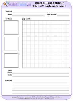 scrapbook page planner worksheet printable free worksheet scrapbooking pinterest ideas. Black Bedroom Furniture Sets. Home Design Ideas