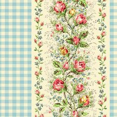 Sweet Charms Cotton Fabric Quilt Gate MR2150-17B Blue Gingham Stripe with Roses