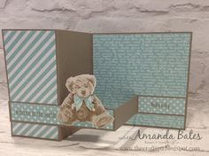 Baby Bear Square Pop Up Z Fold Card to welcome a baby boy