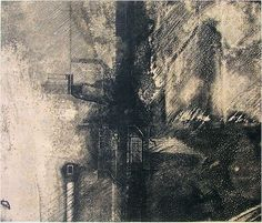 林孝彦 HAYASHI Takahiko 1986  86-理  86-Principle   23.2 x 27.3cm  copperplate print with chine colle'( etching)