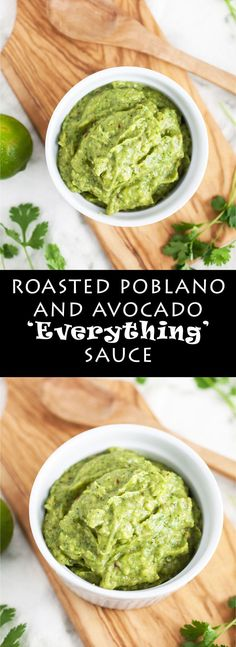 This Roasted Poblano and Avocado Everything Sauce is called that because it's delicious on everything! This creamy avocado sauce is easy to make and super healthy. It's a great topping for tacos, burgers, and sandwiches. It also makes the perfect dip, app Gluten Free Appetizers, Healthy Appetizers, Appetizer Recipes, Healthy Snacks, Healthy Recipes, Appetizer Dips, Easy Recipes, Sauce Recipes, Dessert Recipes