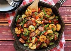 DELICIOUS  SHRIMP AND SAUSAGE SKILLET