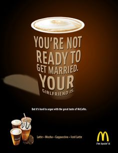 McDonald's McCafe by Steve Haack, via Behance Mccafe Coffee, Iced Latte, Cover Pages, Print Ads, Mocha, Got Married, Beverages, Behance, Posters