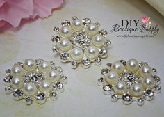 Beautiful sparkly pearl and crystal rhinestone flatback button embellishments in a silver tone FLATBACK setting. Great for wedding and bridal supply looks great on bouquets and cakes!! Baby headbands, flower centers and Great for scrapbooking too. These are a flatback style. We also have these in a gold tone setting here: https://www.etsy.com/listing/208622932/pearl-buttons-gold-flatbacks-pearl?ref=shop_home_active_5&ga_search_query=gold%2Bpearl  Quanit...