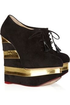 """Charlotte Olympia Martha In Stripes suede and leather wedges! Should be called """"Hi Carl"""" Lace Up High Heels, Lace Up Wedges, Sexy High Heels, Leather Wedges, Leather Booties, Charlotte Olympia, Crazy Shoes, Me Too Shoes, Big Shoes"""