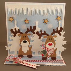 Card by Patricia with Collectables Eline's Reindeer (COL1369), Creatables Icicles (LR0135), Christmas Tree (LR0136) and Winter Wishes (LR0187) by Marianne Design