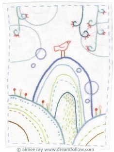 Bird Hill Embroidery Pattern PDF by littledear on Etsy, $4.00