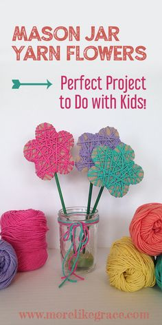 Mason Jar Yarn Flowers - Easy Yarn Flowers DIY Best Picture For crafts for teenagers For Your Taste You are looking for so - Easy Yarn Crafts, Yarn Crafts For Kids, Spring Crafts For Kids, Preschool Crafts, Diy For Kids, Fun Crafts, Cardboard Crafts Kids, Kindergarten Crafts, Decor Crafts