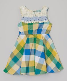 Look at this #zulilyfind! Yellow & Blue Plaid Dress - Toddler & Girls by FruitFactory #zulilyfinds