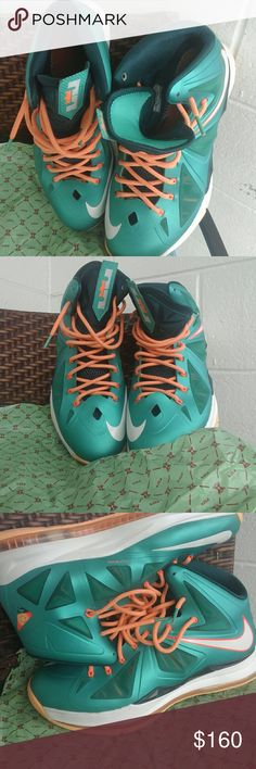 """Nike Lebron X """"Dolphins/Setting"""" S12 Mens Miami Dolphins inspired colorway / Barely worn still in top condition after 4yrs. No marks or damage with original box and paper.  -Prices for these still retaining value being resold on other sites from $119-$230 part of air23 diamond Ed./ GR But no longer being remade unless retro. Nike Shoes Sneakers"""