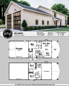 Post Frame Home/Barndominium Plan & Billings close it in above the dining area for another bedroom and bathroom. Post Frame Home/Barndominium Plan & Billings. The post Post Frame Home/Barndominium Plan Pole Barn House Plans, Garage House Plans, Shop House Plans, Dream House Plans, Small House Plans, Pole Barn Garage, Dream Houses, Pull Barn House, Barn Style House Plans