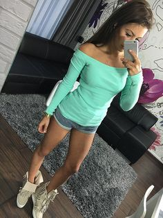 2016 summer spring women Off shoulder tops Tee sexy sweater T-shirt long sleeve Strapless 9 pure Candy colors girls T-shirt