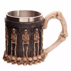 350ML Double Wall Stainless Steel 3D Skull Mugs Coffee Tea Bottle Mug Skull Knight Tankard Dragon Drinking Cup Kup Milk